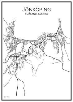 Handritad affisch över staden Jönköping i Småland. Här kan du beställa stadskarta över din stad och andra svenska samt utländska städer.