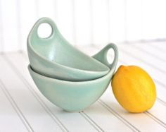 NEW  Batter Bowl Pottery Bowl with Spout and Handle  Polka