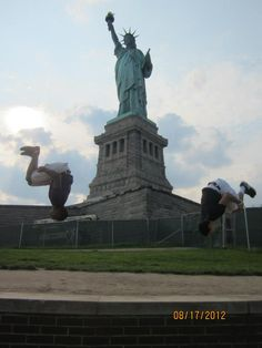 Back flipping at the Statue of Liberty