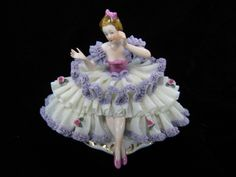 Dresden Porcelain Lace Figurine of Lady Sitting