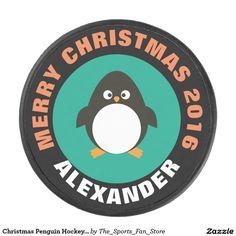 Christmas Penguin Hockey Puck