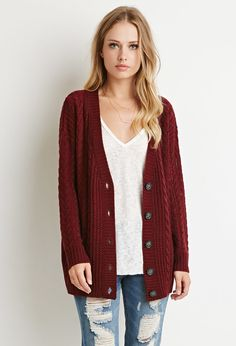 Buttoned Cable Knit Cardigan - Sweatshirts & Knits - Cardigans - 2000142718 - Forever 21 EU English