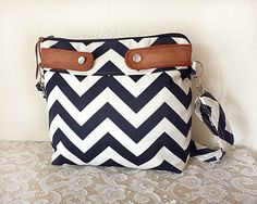 Crossbody Chevron Purse / Nautical look // Navy/White stripe & faux suede-- MADE TO ORDER --