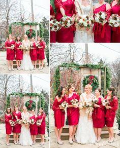A Festive Holiday Themed Wedding // Blumen Gardens Sycamore Illinois Wedding Photography // © www.rachaelosbornphotography.com #christmas #wedding #holiday #holidaywedding #christmaswedding #festive #red #redandwhite #redandgreen #bridal #brideandbridesmaids #redbridesmaiddress