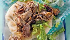 Slow-cooked balsamic and garlic lamb Delicious served with mashed potatoes and roasted veggies, or in a pita with creamy tzatziki and shredded lettuce. Delicious Desserts, Yummy Food, Lamb Dishes, Menu Planners, Lamb Recipes, Recipe Search, Tzatziki, Lettuce, Baking Recipes