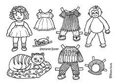 Karen`s Paper Dolls: Stephanie 1-3 Paper Doll to Colour. Stephanie 1-3 påklædningsdukke til at farvelægge.