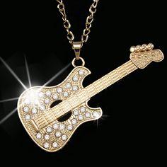Guitarra de Oro de la moda Punk de Los Hombres de Cadena Larga Collar Grande Colgante de Collar de Hombres Mujeres Accesorios de joyería de moda nkeh58