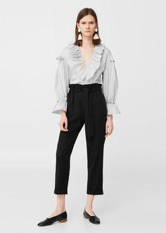 Calças cintura elástica | MANGO