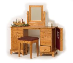 Love this Shaker Vanity that has the jewelry storage inside but would want it in cherry wood not in the oak wood.