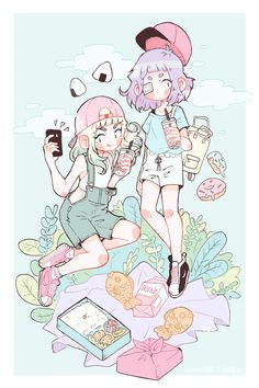 "nemupan: ""Taiyaki and Milk go on a date ~ ✨ "" Art And Illustration, Illustrations, Manga Kawaii, Kawaii Art, Chibi, Cartoon Kunst, Cartoon Art, Kawaii Drawings, Cute Drawings"