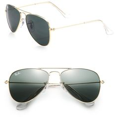 Ray-Ban Junior 50MM Aviator Sunglasses ($73) ❤ liked on Polyvore featuring accessories, eyewear, sunglasses, glasses, apparel & accessories, metal sunglasses, metal glasses, glasses aviator, ray ban sunnies y uv protection glasses