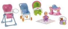 All The Essentials For Feeding And Entertaining Babies - Fisher-Price Loving Family Everything for Baby by Fisher-Price. $60.77. The stroller rolls, the bouncer seat turns, and the blanket is oh-so soft. Includes: baby, soft baby blanket, bouncer, entertainer, diaper bag, high chair, and stroller with working wheels. All the essentials for feeding and entertaining babies. Great addition to your Loving Family Dollhouse collection. Sized to fit any Fisher Price loving family do...