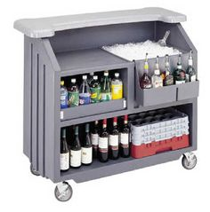 Black Cambro Deluxe Bar On Wheels Includes 5 Bottle Speed Rail U0026 Ice  Sink/drain Dimensions, H X W X D Casters Non Collapsible.