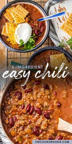 This is the BEST EASY CHILI RECIPE! Our Lazy Day6 Ingredient Chili is one of our favorite recipes to make for a crowd. It's such an easy chili recipe to make and it's so flavorful! Since it only contains 6 ingredients, you most likely already have this stuff in your pantry. It's perfect for game day and absolutely fool-proof. You won't believe how tasty the besteasy chili recipe is! Easy Egg Recipes, Bean Recipes, Chili Recipes, Easy Healthy Recipes, Mexican Food Recipes, Easy Meals, Cooking Recipes, Easy Chili Bean Recipe, Chili Recipe Stovetop