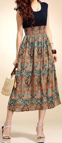 Bohemian  Floral Print Dress