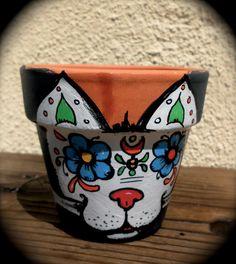 Hand painted Planter Pet Sugar Skull by DonaZarzanga on Etsy