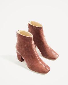 Image 3 of HIGH HEEL VELVET ANKLE BOOTS from Zara