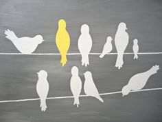 Cute Bird Silhouettes on a Power Line - Yellow, Grey, White - Original 16x20 Painting on Canvas. $58.00, via Etsy.
