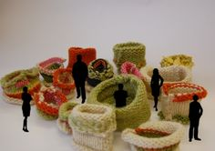 I want to curl up in one of these! Exhibition idea for knitted pods, by Lucy Robertson