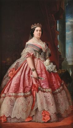 Isabel II - Queen Regnant of Spain - portrait in 1858 - 1850s Fashion, Victorian Fashion, Vintage Fashion, Historical Costume, Historical Clothing, Vintage Dresses, Vintage Outfits, Isabel Ii, Royal Dresses