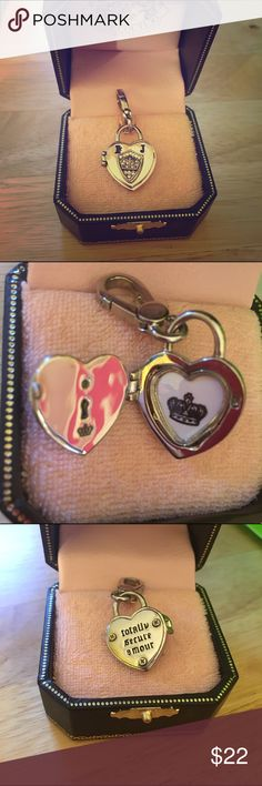 """Juicy Couture ❤ heart locket charm pendant This charm has only been worn maybe once or twice on a chain. It came from nordstroms & is in its original box. You can put a picture inside it! The back says """"totally secure amour"""". The little crown swivels up & down to reveal key hole in front, so it kind of moves which is cute! It surprisingly has some weight to it! It's heavy! There is a puppy & a J on the front too. Juicy Couture Jewelry"""
