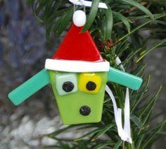 Santa Dog Ornament, Fused Glass