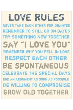 Love Rules Blue & Grey Canvas Wall Art <3