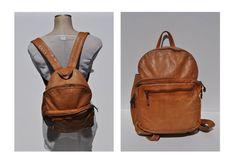vintage leather backpack vintage brown LEATHER BACKPACK tote rucksack back pack ruck sack
