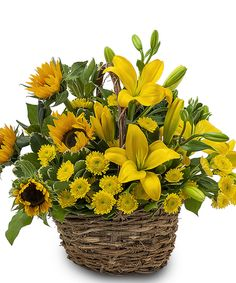 The name says it all! Yellow Sunflowers and Lilies will be sure to brighten someone's day.