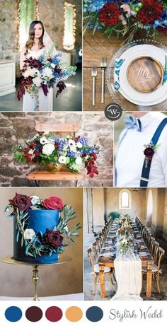 burgundy and blue spring wedding color palettes