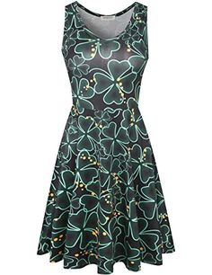 40e7e2ffb Melynnco-Womens-Clover-Print-Sleeveless-Skater-Tank-Dress-