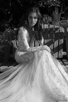 elihav sasson wedding dress 2015 long sleeves plunging v neckline sheath tulle overlay bridal gown