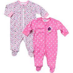 Gerber Newborn Baby Girl Zip Front Flower Sleep N Play  - 2 Pack