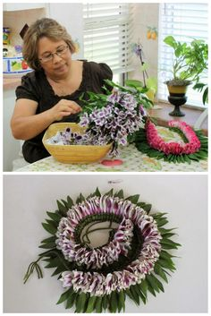 Bicolor purple & white flower Lei with green leafs!