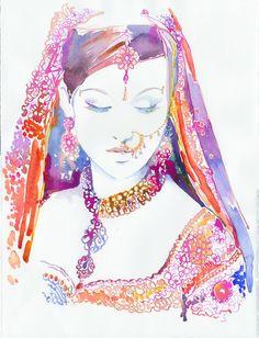 Watercolour Fashion Illustration Indian by silverridgestudio. , via Etsy.