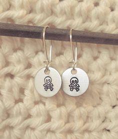 Handstamped Skull and Crossbones Earrings by sassyfrassx3 on Etsy