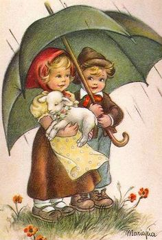Illustration of Maria Pia Franzoni Tomba Vintage Abbildungen, Images Vintage, Vintage Easter, Vintage Pictures, Vintage Prints, Vintage Christmas, Art And Illustration, Easter Illustration, Vintage Greeting Cards