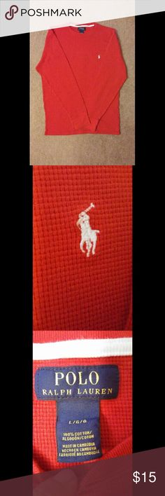 Red Polo Ralph Lauren Thermal Red thermal by Ralph Lauren. Only worn once with no tears, stains or blemishes. Durable and thick for colder seasons and can be worn as a sweater. List $15, but open to negotiation. Polo by Ralph Lauren Sweaters Crewneck