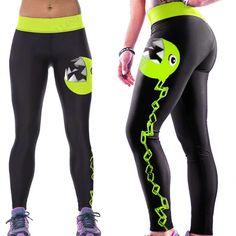 5bbe57e92d705 Pac-man Yoga Pants. Pacman Stretch Workout Leggings / Fitness Tights /  Dance Pants. Running LeggingsGym ...