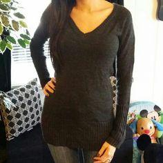 SOLD!! Dark Grey Vneck Sweater Dark Grey Vneck Sweater Ambiance Apparel Sweaters
