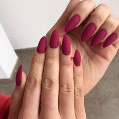 Burgundy and matte ombre nails