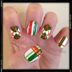 "St Patricks day nails: Irish flag mix and match patterns.... argyle and plaid. (Aggies Do It Better!: Spring ""Holiday"" Manicures!)"