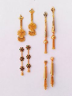 Striking Pairs of Earrings - only from the gold factory  a) 6.100 gm, Rs 19,470/- b) 5.220 gm, Rs 16,660/- c) 3.320 gm, Rs 10,600/- d) 4.700 gm, Rs 15,000/-
