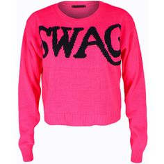 SWAG Jumper ($19) ❤ liked on Polyvore featuring tops, shirts, sweaters, blusas, sweatshirts, shirts & tops, pink shirts and pink top
