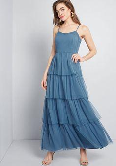 ModCloth Heavenly Haute Tiered Maxi Dress Slate | ModCloth