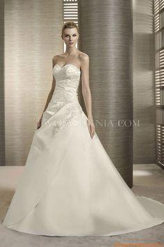 Ärmallos   Elegante Brautkleider 2014 aus Taft mit Stickerei