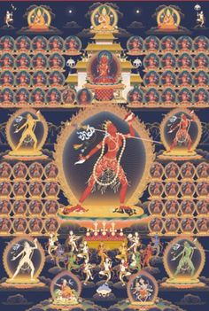 Vajrayogini surrounded by her retinue of Dakinis, and the lineage Gurus of…
