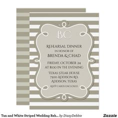 Tan and White Striped Wedding Rehearsal Dinner Card