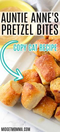 This is the BEST Auntie Anne's Pretzel Bites Recipe you are going to find! These soft pretzel bites are a perfect Auntie Anne's pretzel bites copy cat recipe! These easy homemade soft pretzels are one… Yummy Snacks, Healthy Snacks, Yummy Food, Best Snacks, Tasty, Savory Snacks, Auntie Anne's Pretzel Bites Recipe, Soft Pretzel Recipes, Easy Pretzel Recipe For Kids