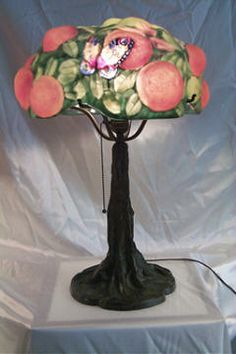 Rare Signed Pairpoint Puffy Orange Tree with Butterflies. Deep Oranges and Deep Green Backround on a Signed Tree Trunk Patina BAse